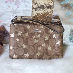 Coach NWT Signature Print Gold Star Wristlet